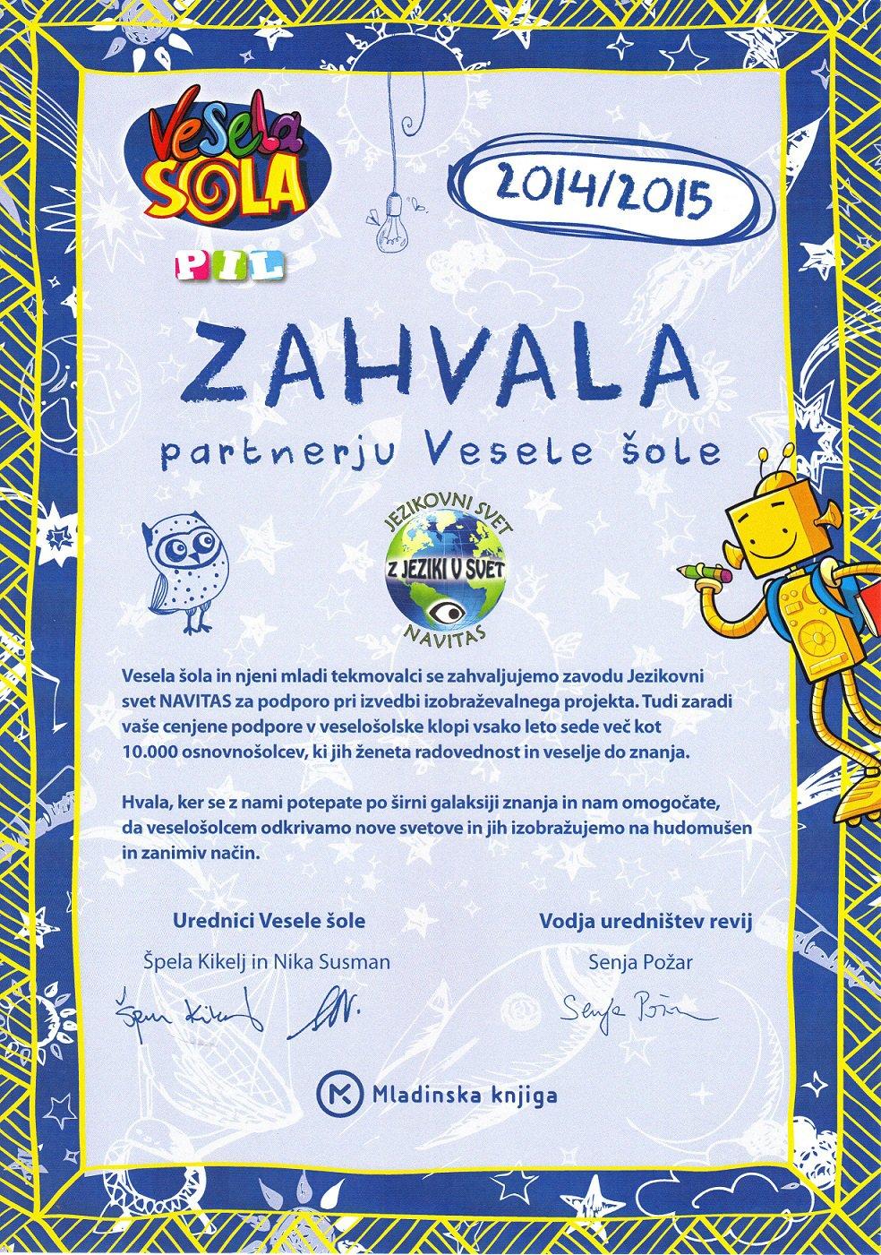 Zahvala-Vesela-šola-za-sodelovanje-Jezikovni-svet-NAVITAS-2015-web
